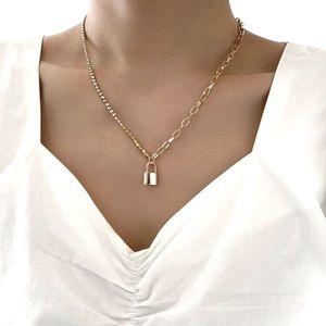 Gold Lock Chain Pendant Necklace